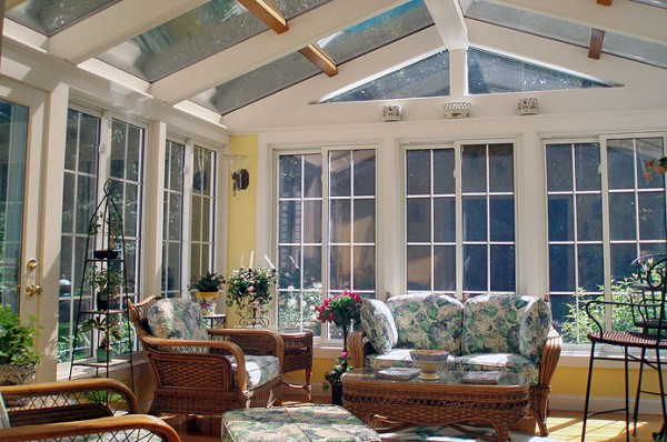 Beautiful Sunroom with Glass Ceiling