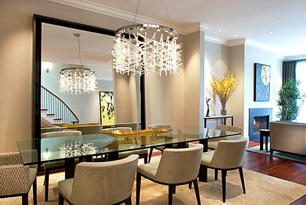 Dining Room With Large Mirror