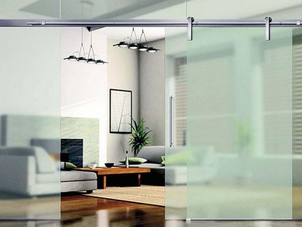 Frosted Glass Sliding Barn Door Room Divider