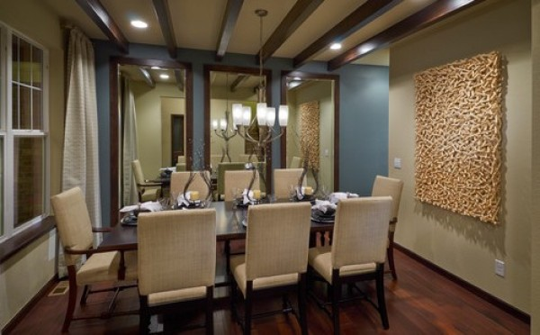 Dining Room with Wall Mirrors
