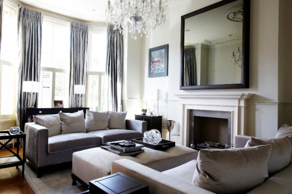 Living Room with Large Framed Mirror