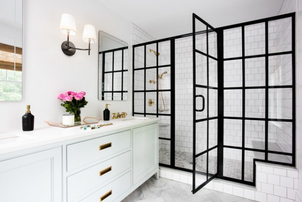 Aluminum Black Framed Shower Enclosure