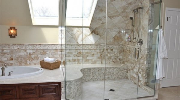 European Shower With Built-in Bench
