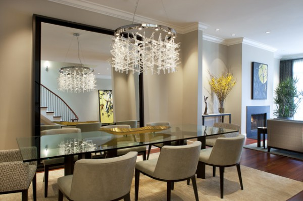 Contemporary Dining Room with Large Decorative Mirror