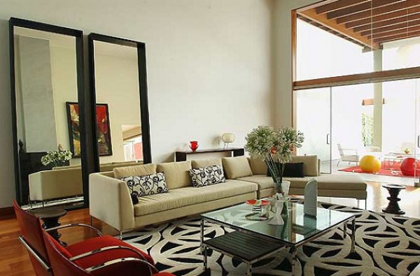 Contemporary Living Room with Decorative Mirros & Glass Top Coffee Table