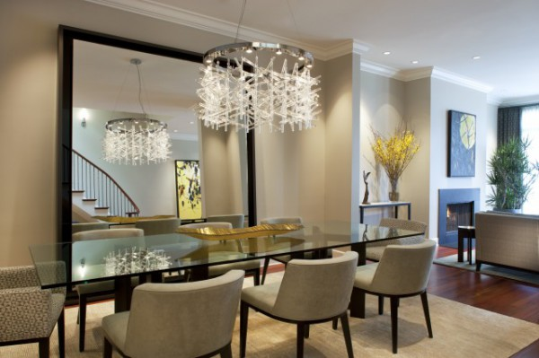 Oversized Mirror in Contemporary Dining Room