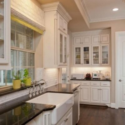 Farmhouse Kitchen with Glass Cabinets